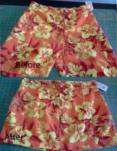 redesign old big shorts into a new cute fashion skirt @tailorlove