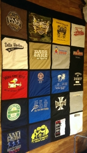 quilt made of old t-shirts made @tailorlove